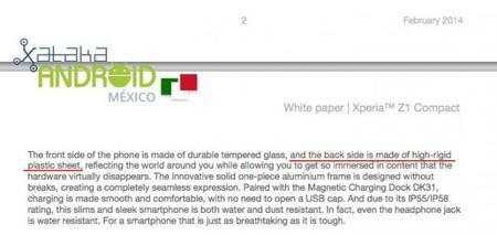 Sony Xperia Z1 Compact White Paper Versión 3 (Febrero)