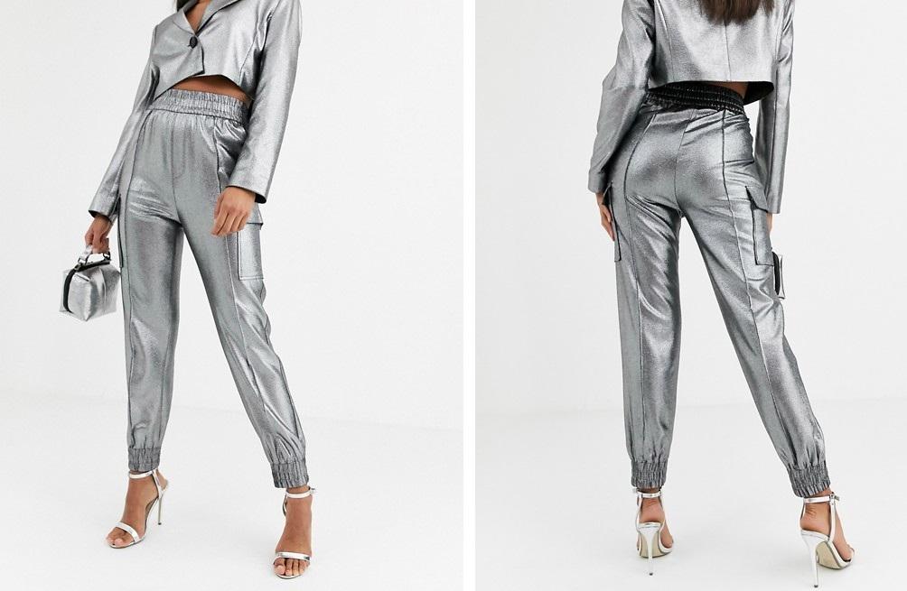 Pantalones utilitarios con diseño metalizado