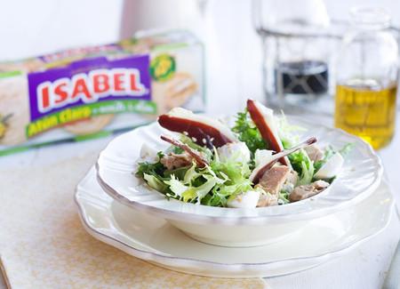 Ensalada de escarola, jamón de pato y atún claro en aceite de oliva Isabel
