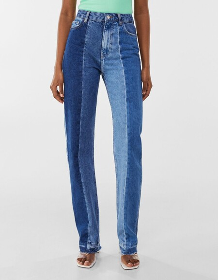 Jeans Straight Contraste Bicolor