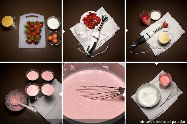 mousse de fresa - elaboración