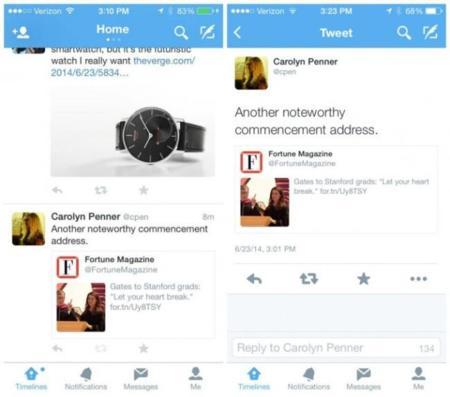 Las nuevas pruebas de Twitter: los Retweets como 'cards'