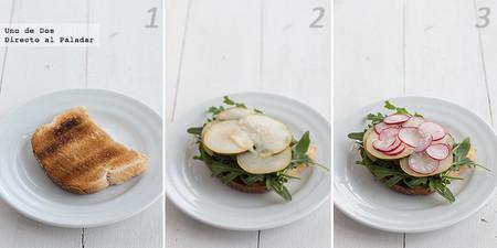 Tosta de rúcula, pera, rabanitos y queso. Receta paso a paso