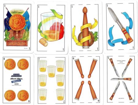 Ejemplo de los palos usados en una baraja de cartas asturiana.