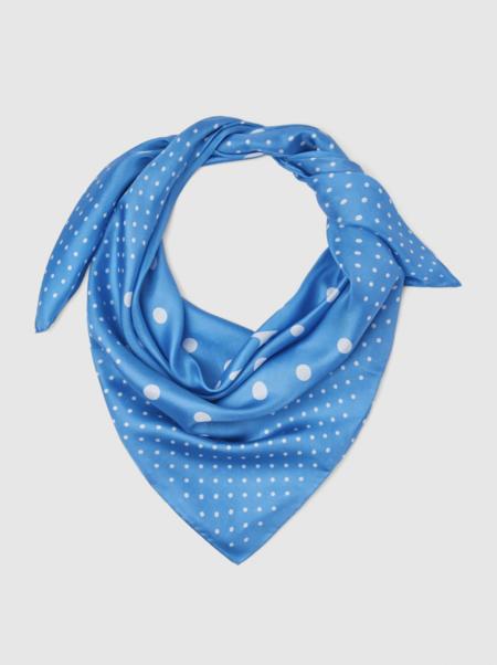 Designer pañuelo de seda en azul con puntos blancos formas roja