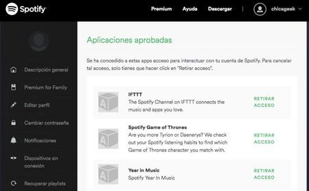 Aplicaciones Autorizadas Spotify