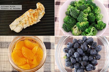 Ensalada de brócoli y fruta con pollo a la parrilla. Pasos