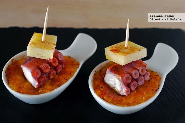 Pincho de pulpo y queso san sim n con calabaza receta de - Tapas originales frias ...