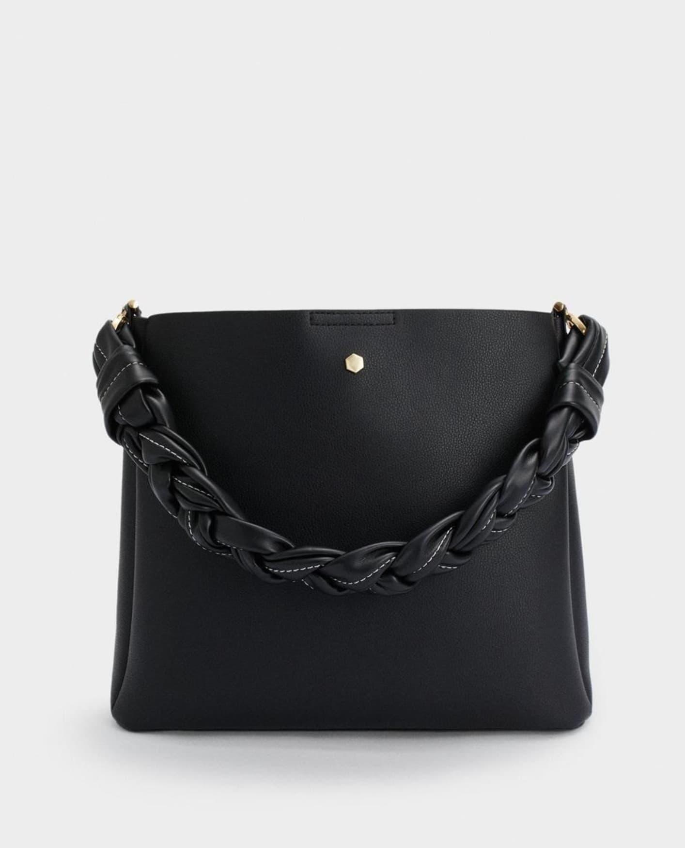 Bolso de hombro Parfois en negro con asa trenzada