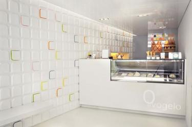 Los azulejos 3D creados por Andy Martin Architects para la heladería Olivogelo