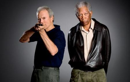 Clint Eastwood and Morgan Freeman (Photo: Keith Bernstein)