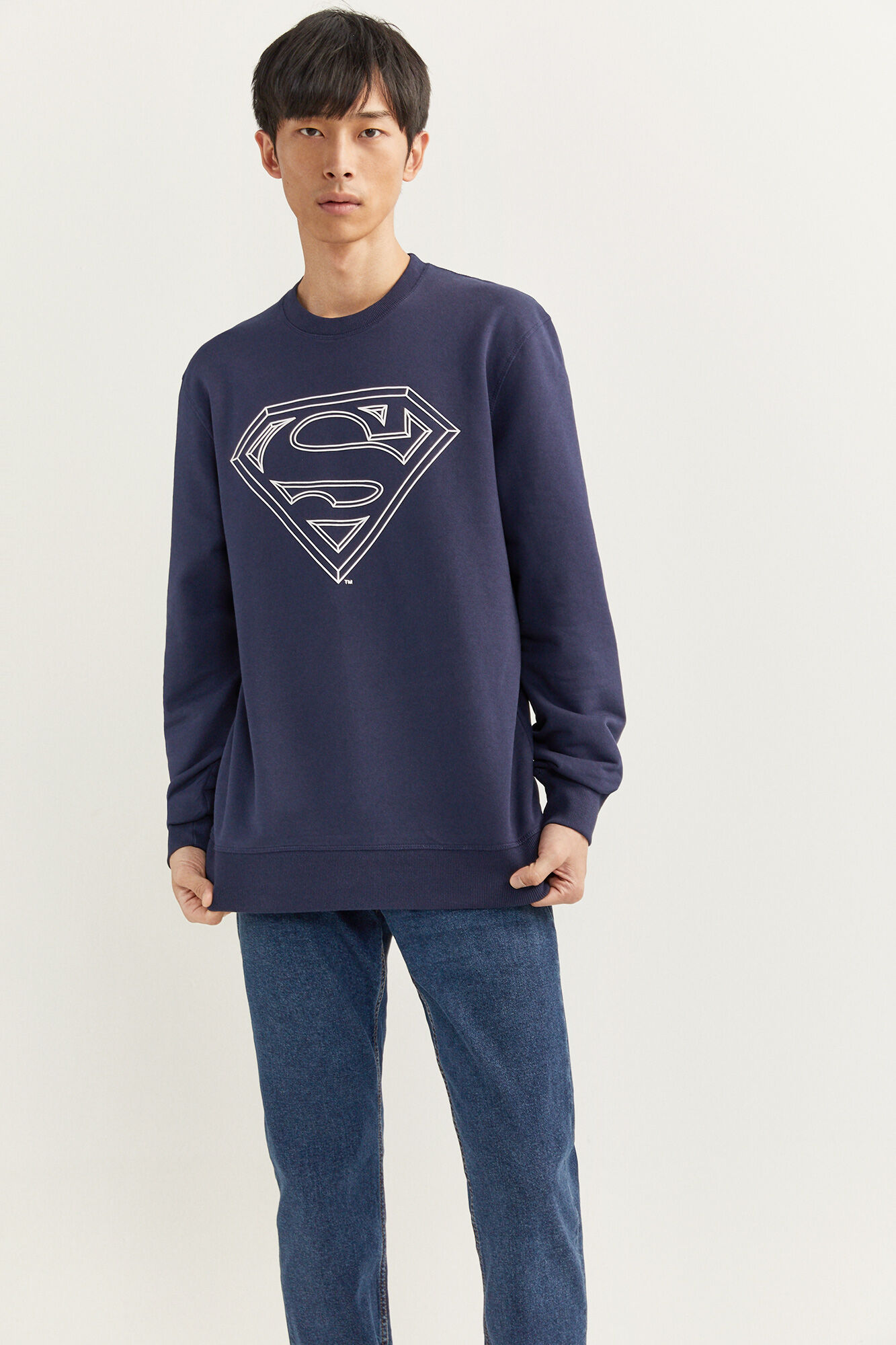 Sudadera regular fit con cuello caja y estampado de Superman.