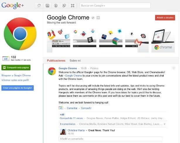 google plus pagina chrome red social +1