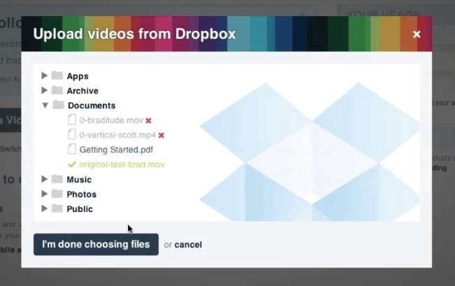 vimeo dropbox carga vídeos