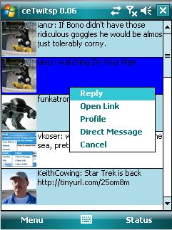 ceTwit, cliente de Twitter para Windows Mobile