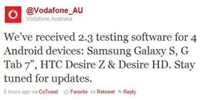Vodafone Australia confirma Gingerbread para Samsung Galaxy Tab