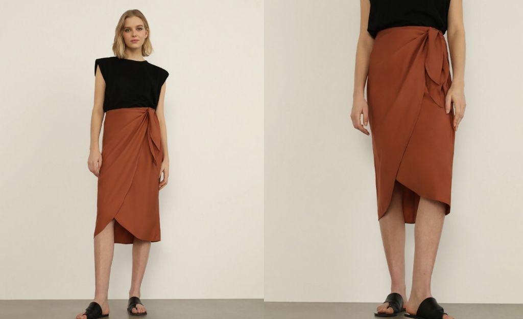 Falda pareo en color teja