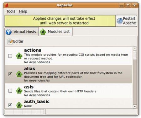 Rapache 0.5, gestor de configuración de Apache
