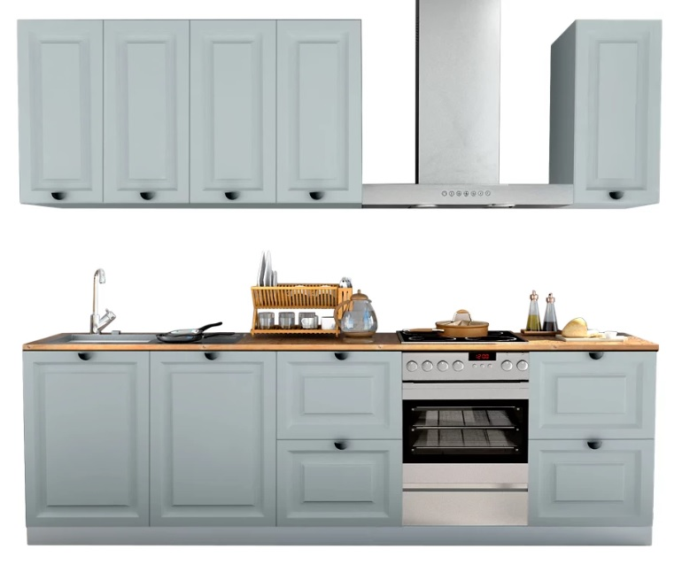Cocina en kit Delinia ID Oxford azul 300cm con muebles altos y bajos