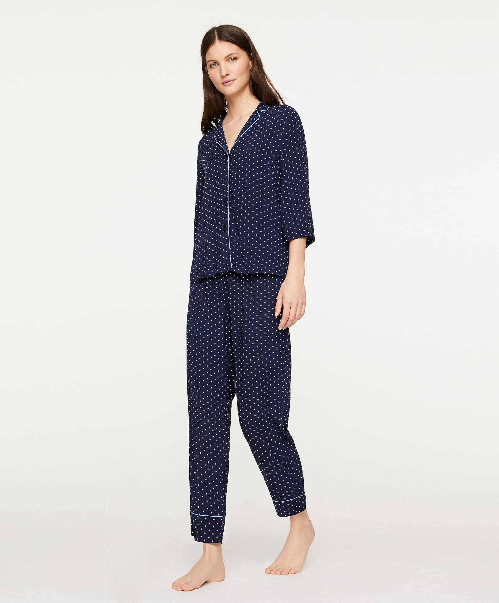 Camisa de pijama masculino de lunares