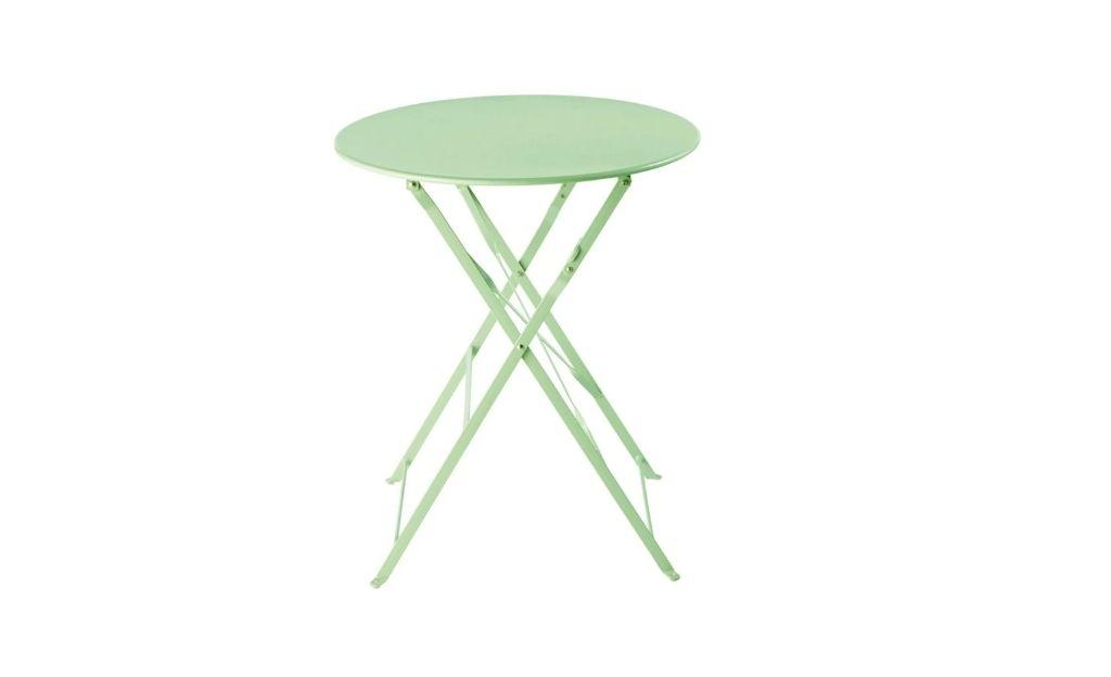 Mesa de jardín plegable de metal verde agua D. 68