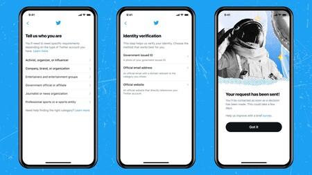 Twitter account verification request process
