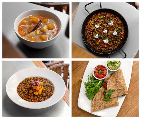 Escudella Vegetal Fideua De Algas Lentejas Al Curry Y Quesadillas C Tchf