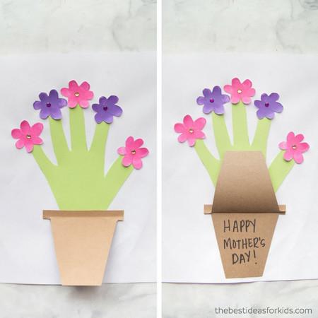 Manualidades Dia Madre Tarjeta Manos Flores