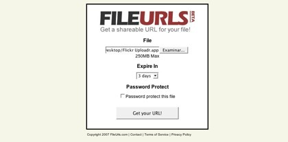 FileUrls, alojando archivos temporalmente de hasta 250 MB