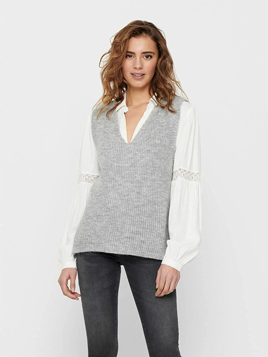 Only Onlcora Vest Ex Knt Chalecos suteres para Mujer