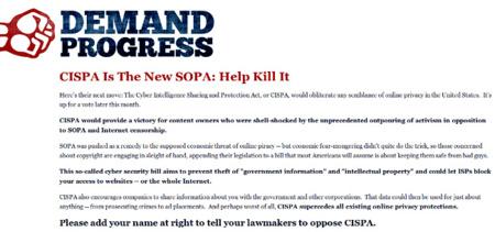 Petición de firmas contra #CISPA, la #SOPA rancia