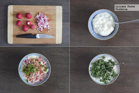 Raita o ensalada cremosa de yogur con rabanitos, espinacas y col. Receta saludable. Pasos
