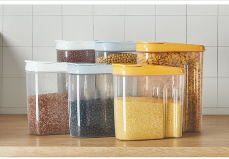 Cocina de alimentos caja de plástico organizador contenedor organizador para refrigerador tapas de granos crujientes selladas caja de almacenamiento contenedor de cocina