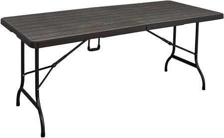Kg Kitgarden Mesa Plegable Multifuncional Imitacion Madera 180x75x74cm Marron Wood 180