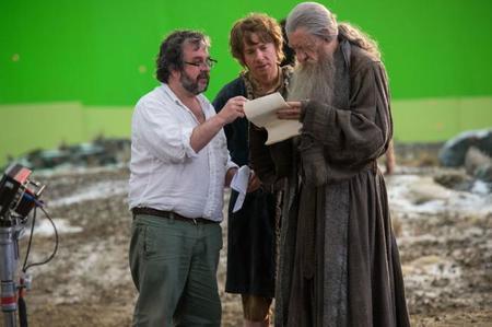 Peter Jackson, Martin Freeman e Ian Mc Kellen durante el rodaje