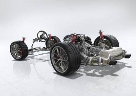 Porsche 718 Cayman GT4 chasis sin carrocería