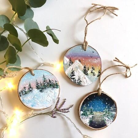 Adornos Del Arbol De Navidad Pintado A Mano