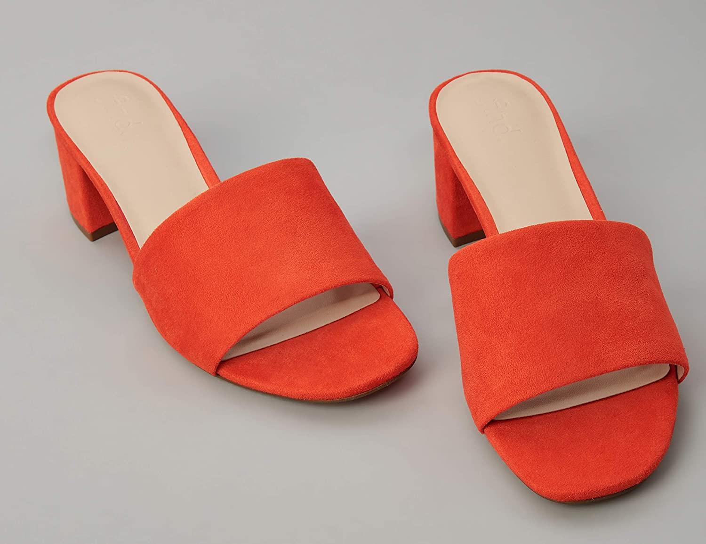 Marca Amazon - find. Wide Fit Simple Block Heel Mule - Sandalias con punta abierta Mujer