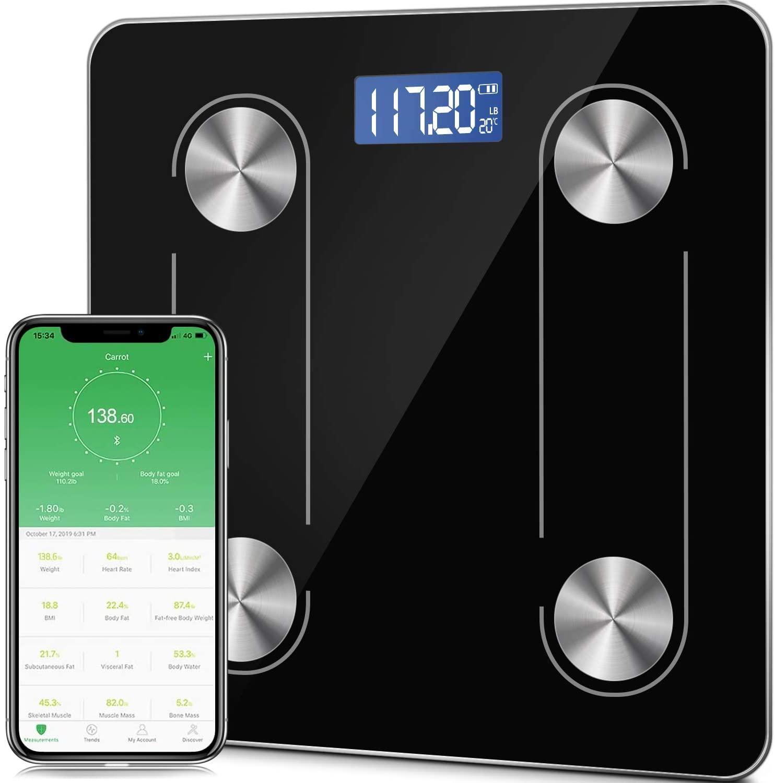 TYC Báscula Inteligente Bluetooth 4.0 Digital Analizador de Composición Corporal, 400 libras, 70 datos Relacionados alta precisión Compatible con Android y IOS