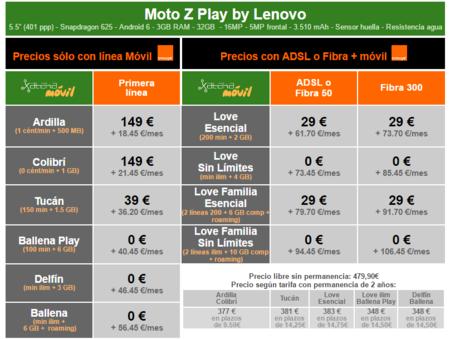 Precios Moto Z Play Con Tarifas Orange