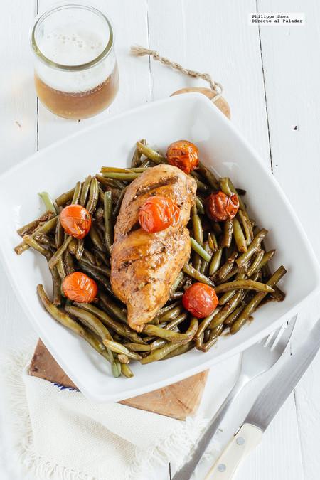 Pollo en reducción de balsámico y verduras