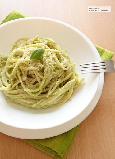 Espagueti al pesto de brócoli. Receta