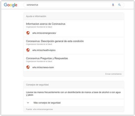 Google Aviso Coronavirus