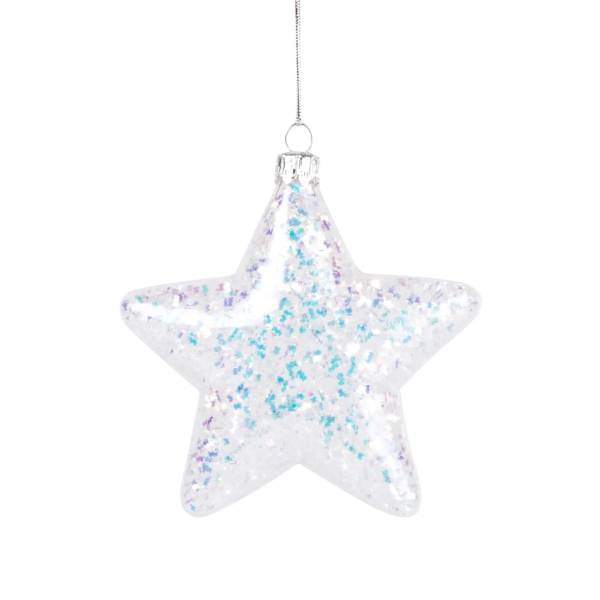 ECLAT - Adorno de Navidad de cristal con purpurina irisada - Lote de 12