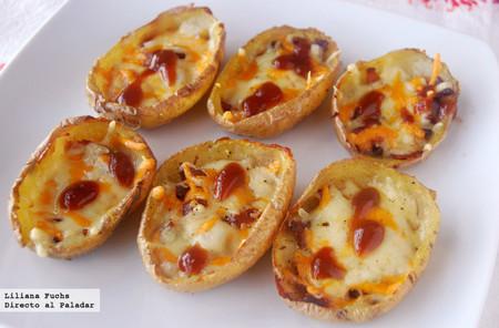 Receta de barquitas de patata con queso o potato skins, un aperitivo absolutamente adictivo