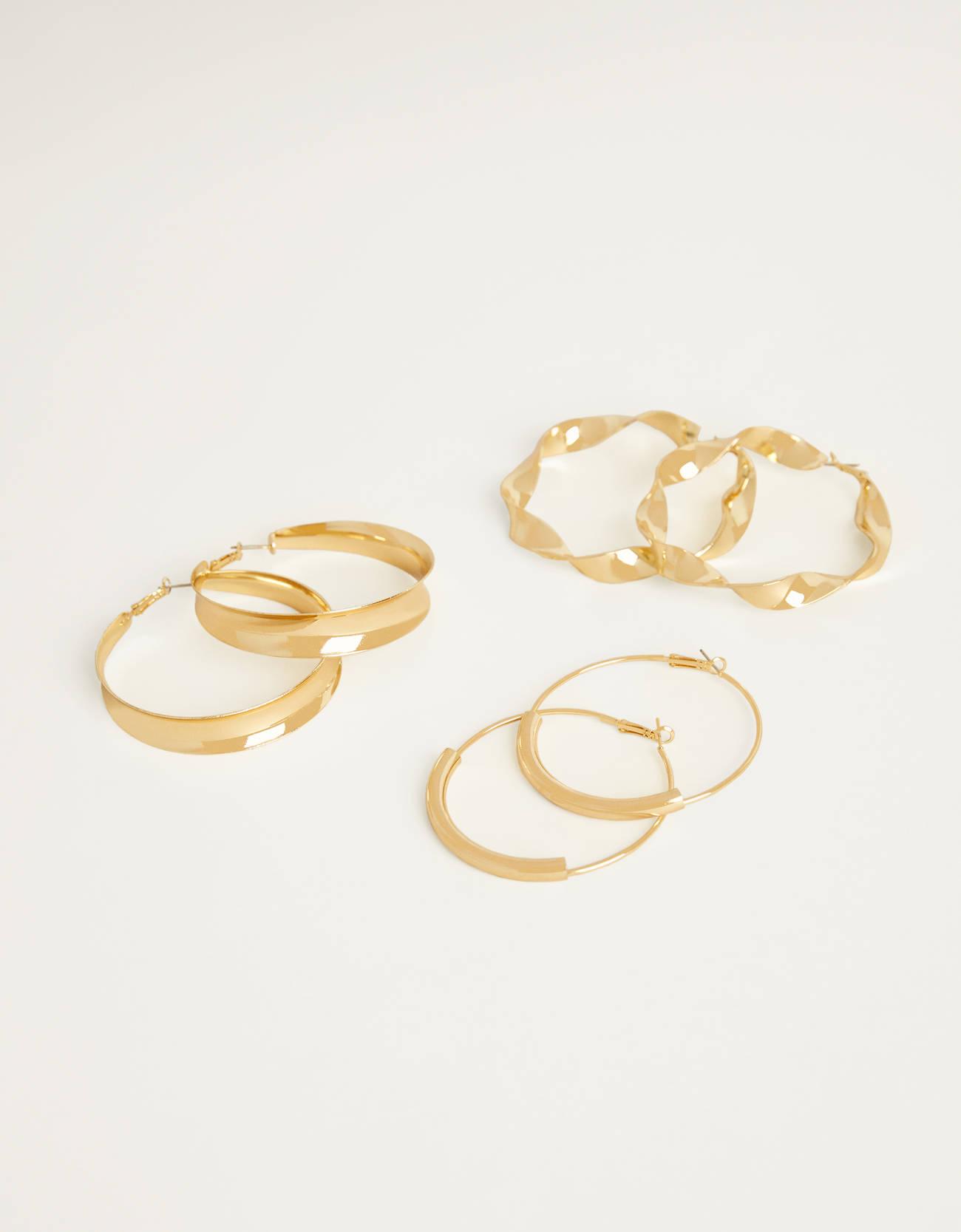 Set de tres aros XL dorados