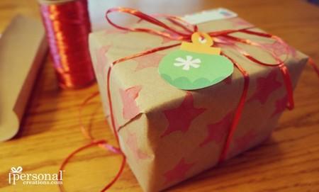 Manualidades Navidad Sello Papel Regalo