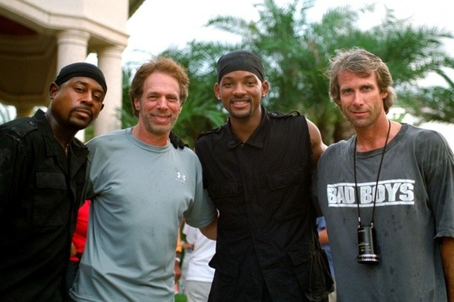 Martin Lawrence, Jerry Bruckheimer, Will Smith y Michael Bay en el rodaje de Bad Boys 2