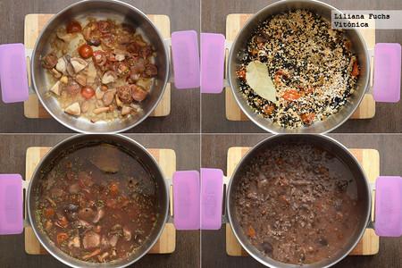 Lentejas beluga con quinoa, arroz y setas. Pasos