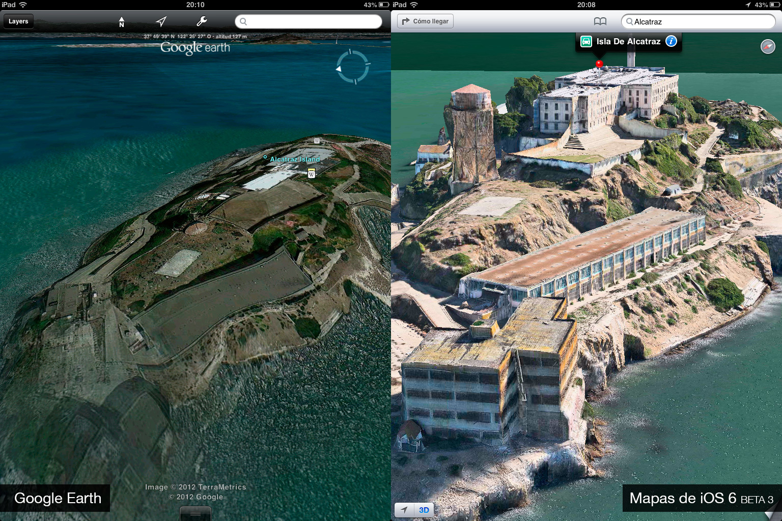Foto de Google Earth 7.0 contra Mapas de iOS 6 (beta 3) (5/9)